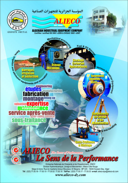 ALIECO Algerian Industrial Equipment Company Division Hydromécanique Levage et manutention ENCC